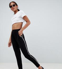 Зауженные брюки с контрастной отделкой ASOS DESIGN Tall - Черный