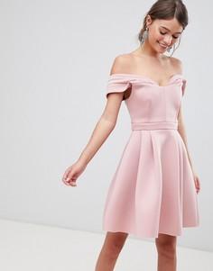 Платье мини для выпускного со спущенными плечами ASOS - Розовый