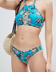 Плавки-бикини с тропическим принтом New Look - Синий