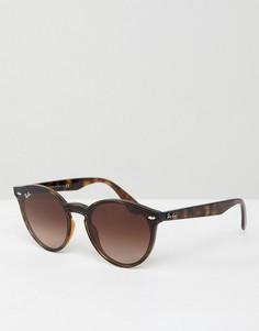 Круглые черепаховые солнцезащитные очки Ray-Ban Blaze - Коричневый
