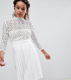 Платье миди с кружевным топом и рукавами 3/4 Little Mistress Petite - Белый