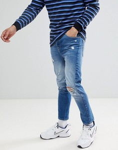 Синие джинсы скинни с рваной отделкой ASOS DESIGN - Синий
