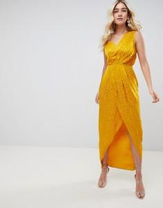 Жаккардовое платье макси ASOS DESIGN - Золотой