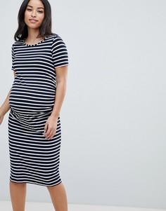 Трикотажное облегающее платье в полоску Bluebelle Maternity - Темно-синий
