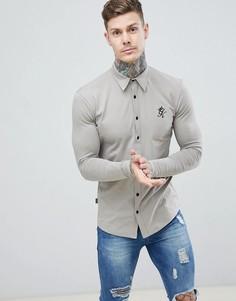 Трикотажная рубашка каменного цвета с длинными рукавами Gym King - Серый