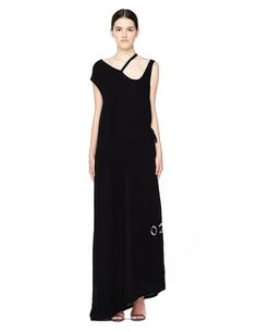 Черное платье в пол с принтом Ann Demeulemeester