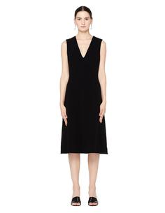 Черное платье с V-образным вырезом The Row