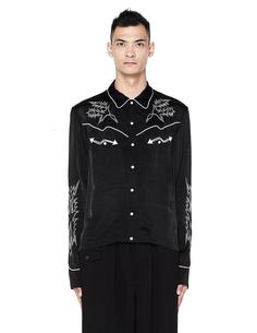 Черная рубашка с вышивкой The Soloist