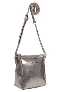 Серебристая сумка из натуральной кожи Fabretti
