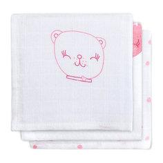 Салфетки для лица, 3шт, Funny Bear pink (Розовый мишка) Jollein