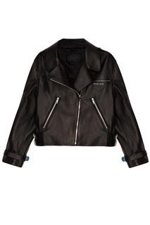 Черная кожаная куртка с логотипом Prada