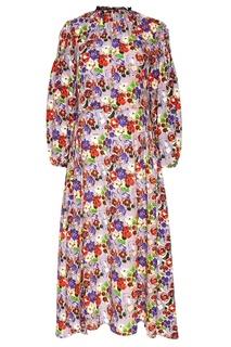 Шелковое платье с яркими цветами Prada