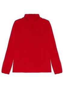 Красная блузка с драпированным воротником Prada
