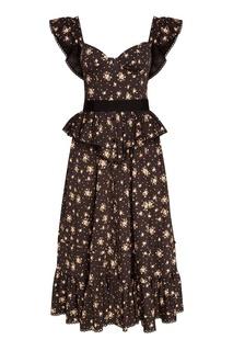 Черное платье из шелка с принтом Ulyana Sergeenko