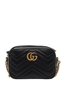 Черная мини-сумка GG Marmont Gucci