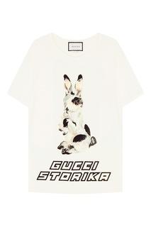 Хлопковая футболка с кроликом Gucci