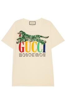 Хлопковая футболка с тигром Gucci