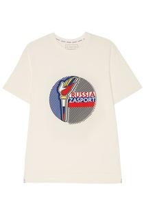 Хлопковая футболка с олимпийским принтом Zasport