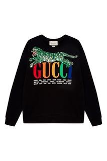 Черный свитшот с вышивкой пайетками Gucci