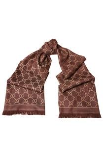 Коричневый шерстяной шарф с монограммами Gucci