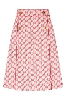 Хлопковая юбка с монограммами Gucci