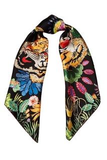 Шелковый платок с тропическим принтом Gucci