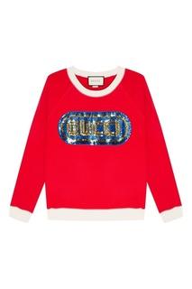 Красный свитшот с вышивкой пайетками Gucci