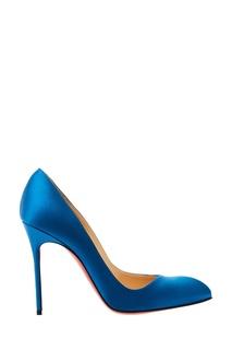 Синие туфли шелковой отделкой Corneille 100 Christian Louboutin