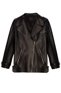 Черная куртка из кожи Prada
