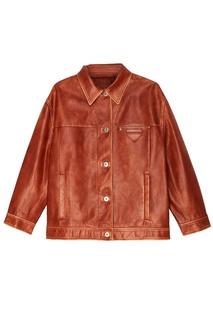 Куртка из потертой кожи Prada