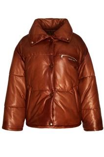 Коричневая куртка из кожи Prada
