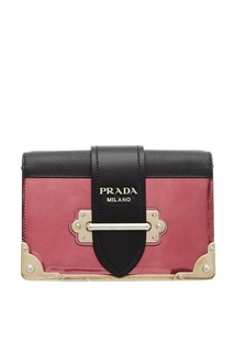 Розовая кожаная сумка Cahier Prada