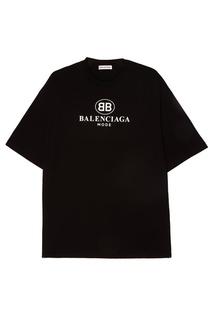 ФутболкаЧерная хлопковая футболка с логотипом Balenciaga