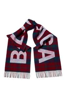 Шерстяной шарф в клетку с логотипом Balenciaga