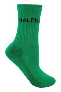 Зеленые носки из хлопка с логотипом Balenciaga