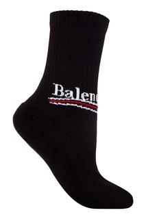 Черные носки из хлопка с логотипом Balenciaga