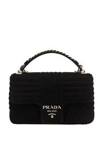 Черная замшевая сумка Diagramme Prada