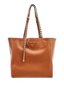 Коричневая сумка-шопер из кожи Prada