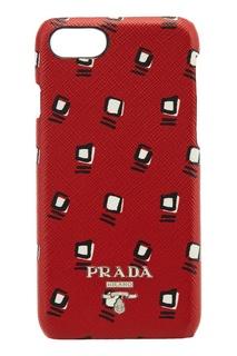 Красный чехол с принтом для iPhone 7/8 Prada