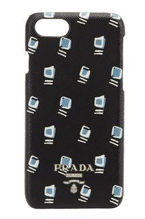 Черный чехол с принтом для iPhone 7/8 Prada