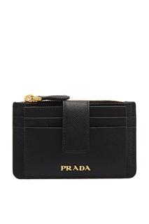 Черный кожаный футляр для карт Prada