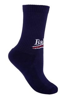 Синие носки из хлопка с логотипом Balenciaga