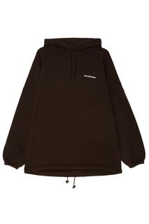Черное хлопковое худи с логотипом Balenciaga
