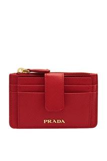 Красный кожаный футляр для карт Prada