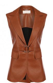 Приталенный кожаный жилет Chloé