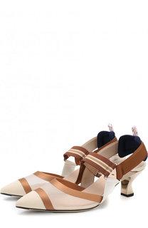 Текстильные туфли на каблуке kitten heel Fendi