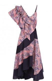 Хлопковое платье-миди с оборками и принтом Loewe