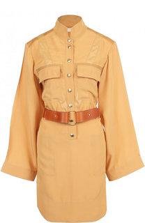 Однотонное платье-рубашка с поясом и накладными карманами Chloé