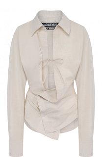 Однотонная приталенная блуза из смеси хлопка и льна Jacquemus