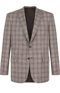 Однобортный шерстяной пиджак из смеси шерсти и шелка с льном Brioni